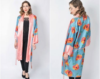 Vintage 1920's Bold Floral Print Robe/ 20's Flower Print Kimono Duster Coat