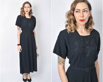 Vintage 1940's Beaded Black Rayon Long Dress/ 40's Evening Gown Size Large