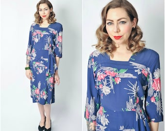 Vintage 1940's Rose Print Rayon Dress/ 40's Floral Printed Rayon Dress Size Large/ X-large
