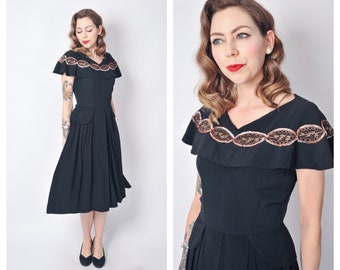 Vintage 1940's Cape Dress with Soutache Detailing/ 40's Black Rayon Dress with Gold Embellishments Size X-small/ Small