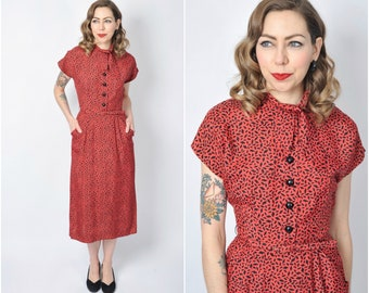 Vintage 1940's Red and Black Printed Rayon Dress/ 40's Button Front Dress Size X-small