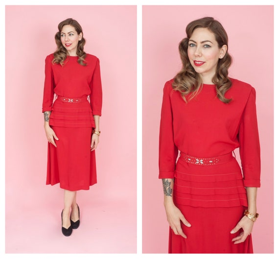 1940s Red Rayon Dress with Matching Studded Belt S