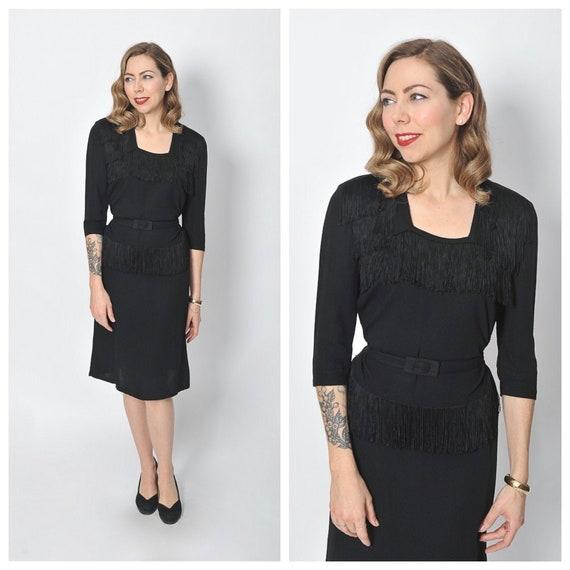1940s Black Rayon Dress with Fringe Trim/ 40s Frin