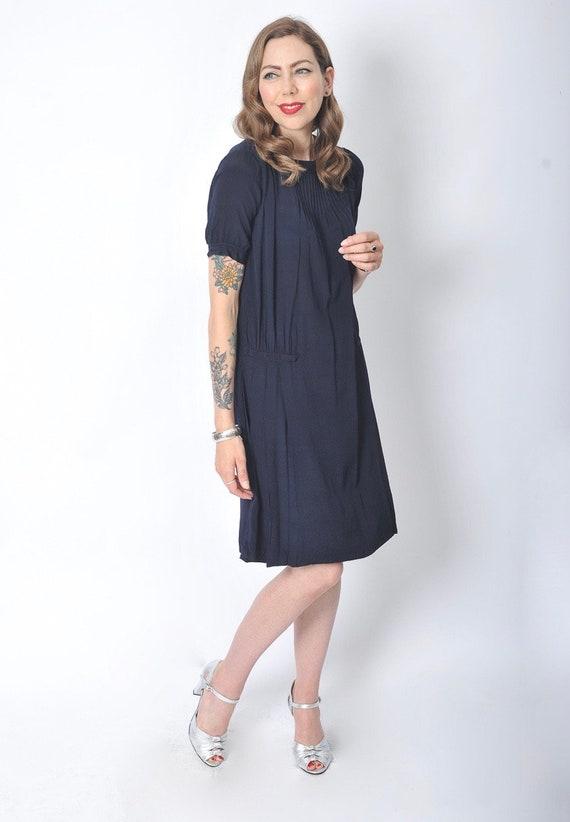 Vintage 1920's Navy Blue Day Dress/ 20's Blue Sil… - image 3