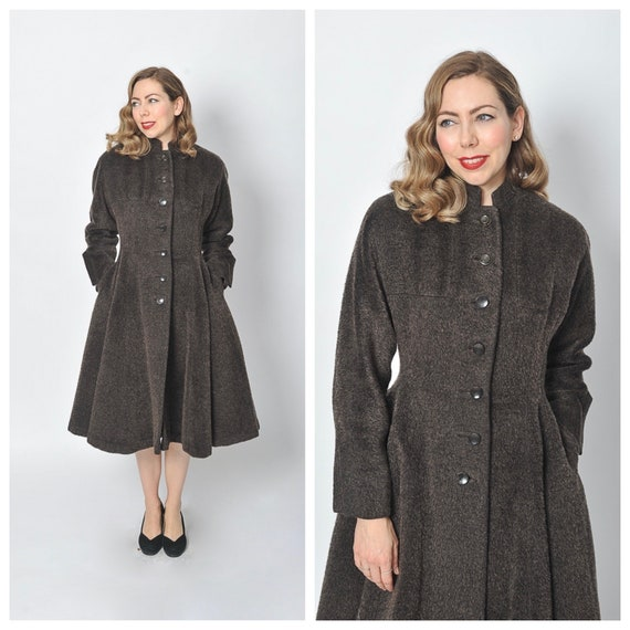 1950s Eyelash Mohair Wool Princess Coat/ 50s Flare