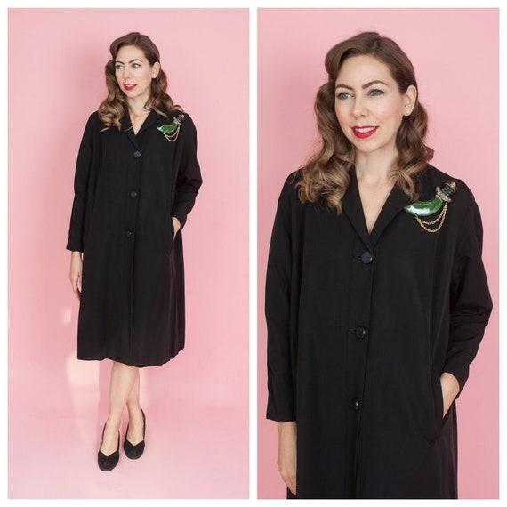 Late 1940s Black Gabardine Swing Coat/ 40s A-line