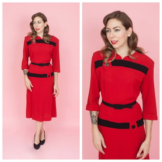 1940's Lipstick Red and Black Rayon Colour Block D