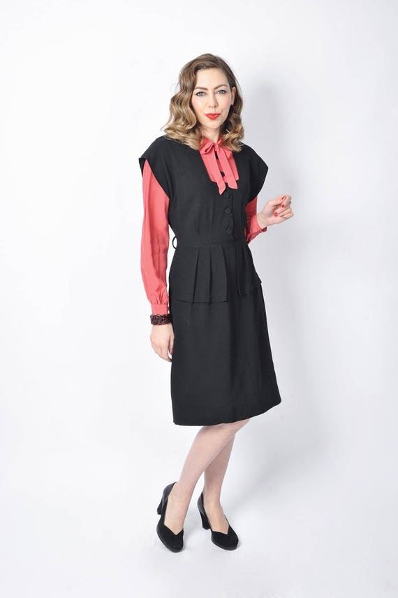 Vintage 1940's Black and Pink Rayon Dress/ 40's C… - image 3