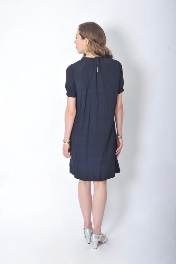 Vintage 1920's Navy Blue Day Dress/ 20's Blue Sil… - image 5