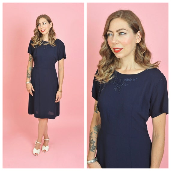 1940s Navy Rayon Day Dress with Ribbon Embroidery