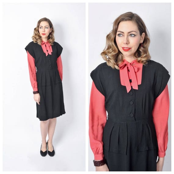 Vintage 1940's Black and Pink Rayon Dress/ 40's Co