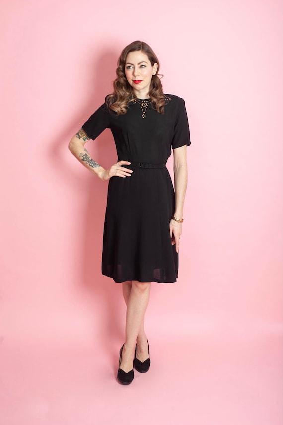 Vintage 1940/'s Black Rayon Dress with Gold Studded Neckline 40/'s Studded Day Dress Size Medium