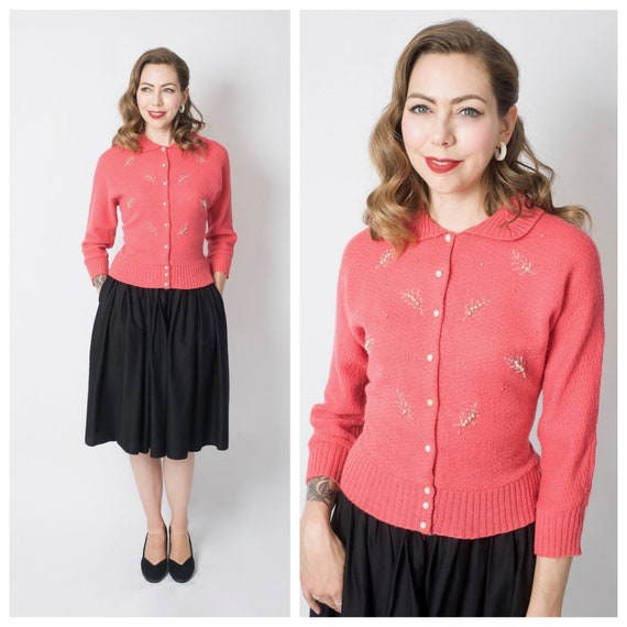 Vintage 1950's Pink Beaded Cardigan Sweater/ 50's