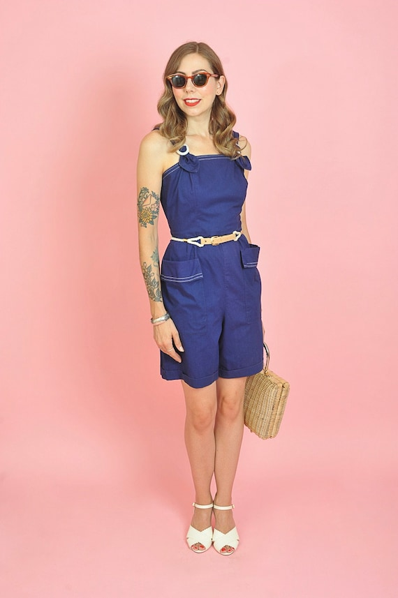 1940's Dark Blue Cotton Playsuit Romper Size Small - image 2