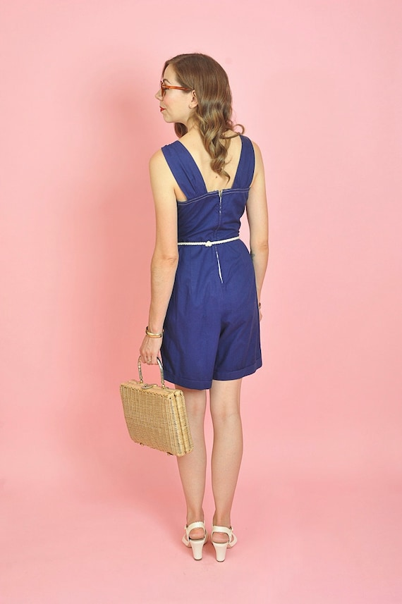 1940's Dark Blue Cotton Playsuit Romper Size Small - image 5