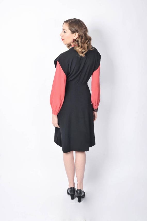 Vintage 1940's Black and Pink Rayon Dress/ 40's C… - image 6