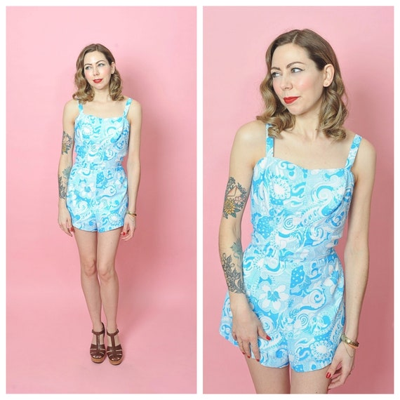 1960s Blue and White Print One Piece Playsuit Swim