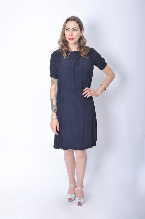 Vintage 1920's Navy Blue Day Dress/ 20's Blue Sil… - image 7