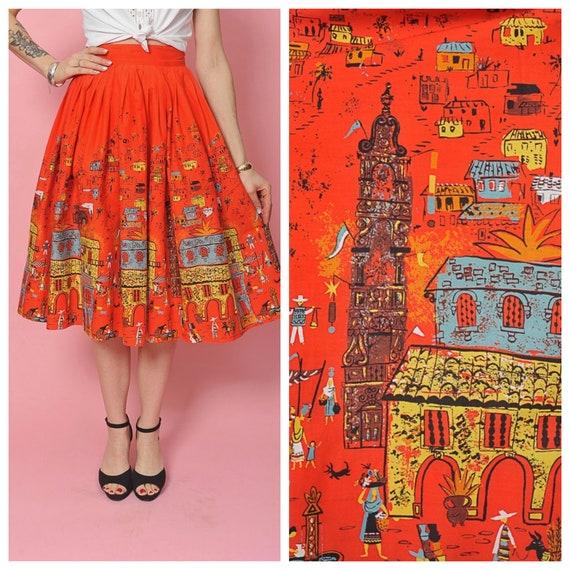 1950's Hacienda Novelty Print Skirt by Millworth/