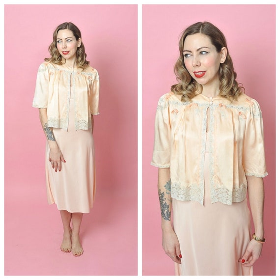 1940s Peach Silk Bed Jacket/ 40s Lounge Top Linger