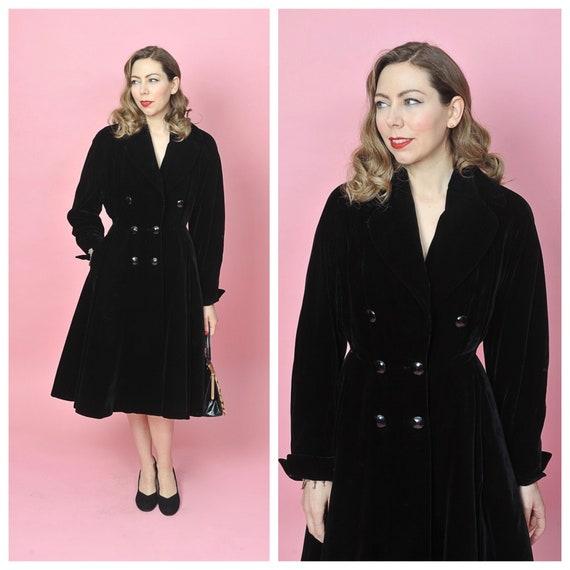 1950s Black Velvet Princess Coat/ 50s Fit and Flar