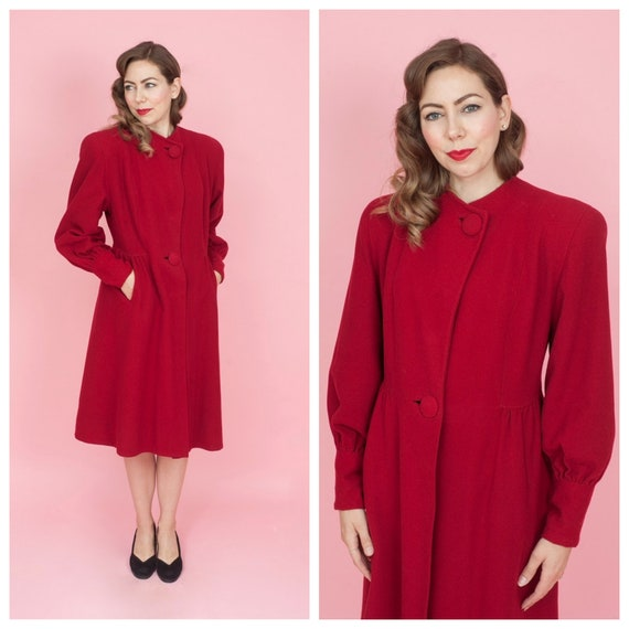 1940s Red Wool Winter Coat with Bishop Sleeves Siz