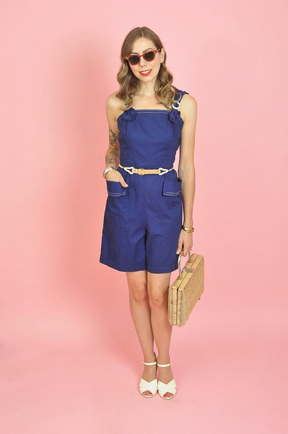 1940's Dark Blue Cotton Playsuit Romper Size Small - image 8