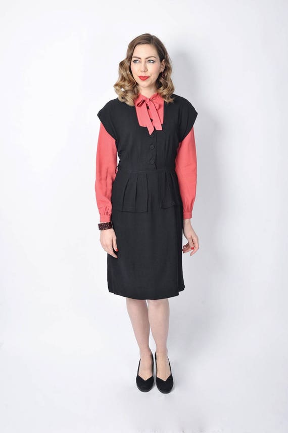 Vintage 1940's Black and Pink Rayon Dress/ 40's C… - image 2