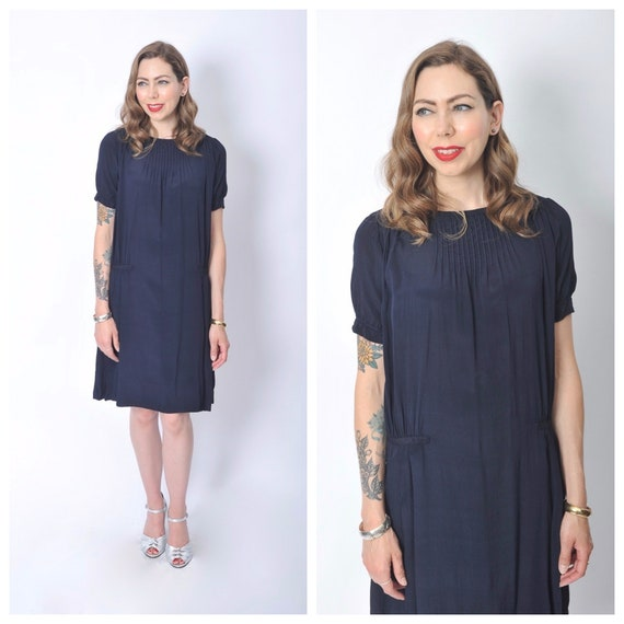 Vintage 1920's Navy Blue Day Dress/ 20's Blue Silk