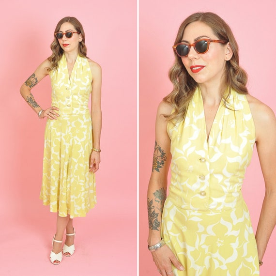 Vintage 1940's Two Piece Tropical Print Blouse and