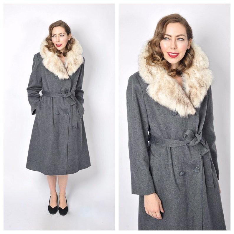 Women Real Fur Coat Natural Silver Fox Fur Collar Front Winter Belted Overcoat