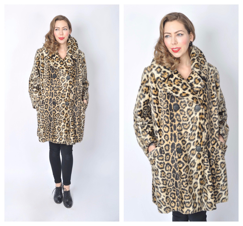 a4f8afe710 Vintage 1960 s Leopard Print Faux Fur Coat  60 s Mod