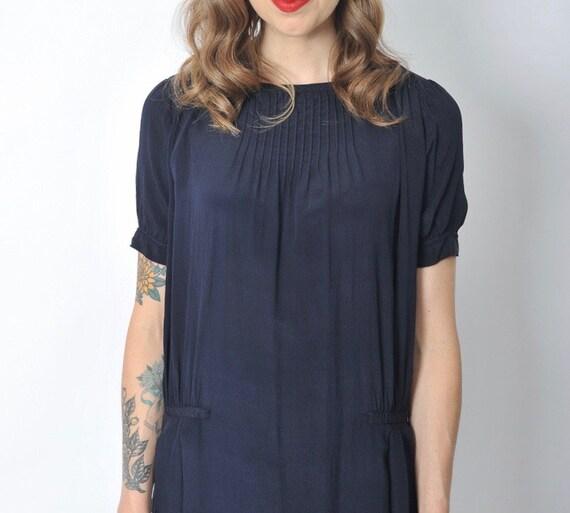 Vintage 1920's Navy Blue Day Dress/ 20's Blue Sil… - image 6