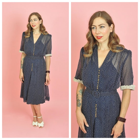 1940s Navy and White Polka Dot Button Front Dress