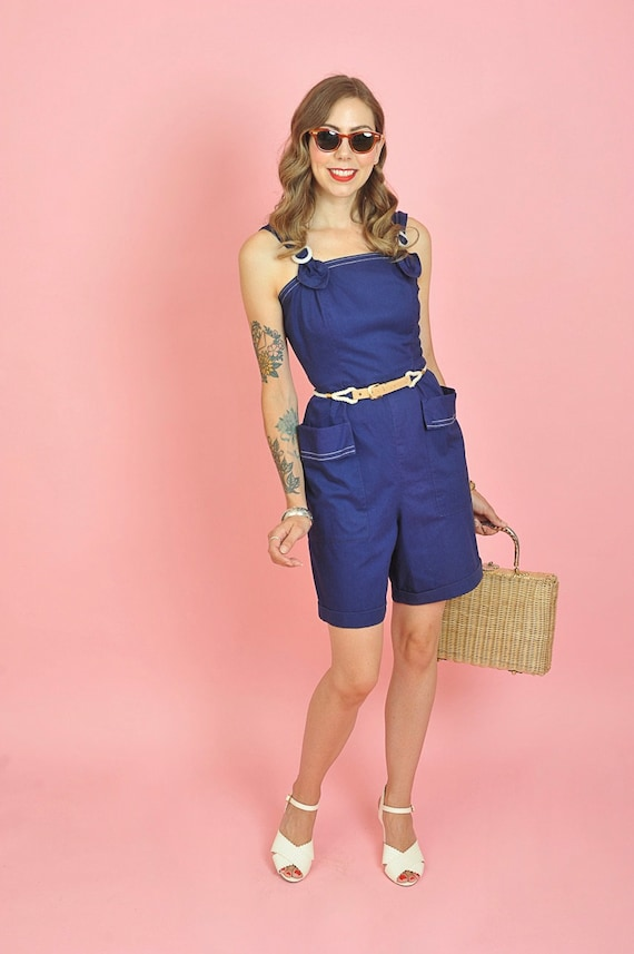 1940's Dark Blue Cotton Playsuit Romper Size Small - image 3