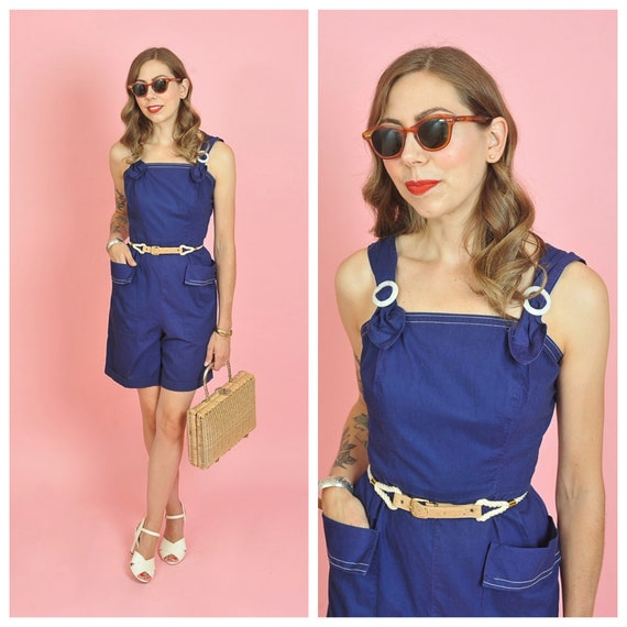 1940's Dark Blue Cotton Playsuit Romper Size Small