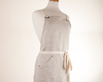 Linen Apron. Mix-natural color Canvas weight or heavy weight 100% linen. Full apron.