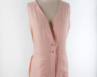Long Linen Topper Jacket, Power Pink color. Open front and sides topper.