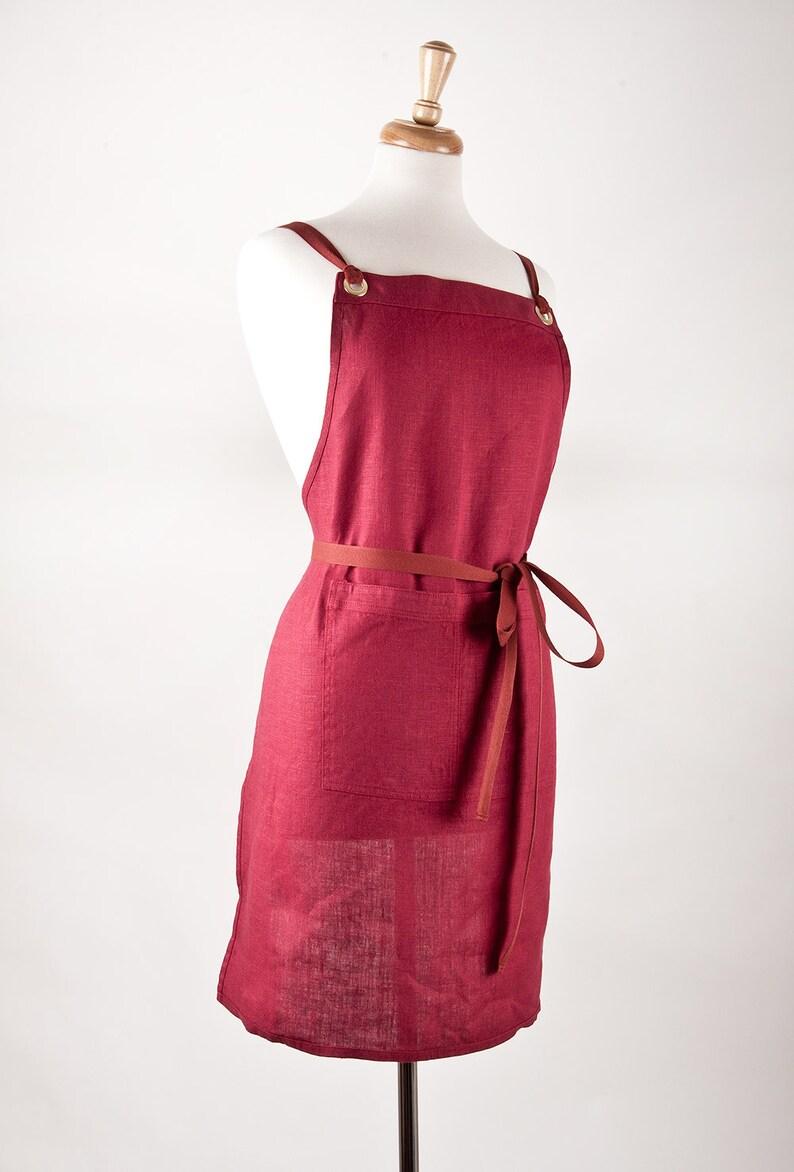 Full Apron 100/% medium weight Linen Linen Apron Biking red color.