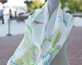 Hand Painted Silk Scarf White Shawl Lily Flower Wedding Ready to Ship