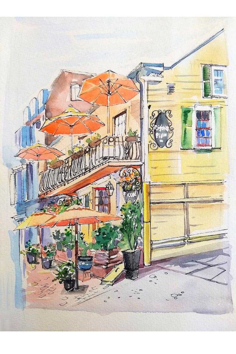 ready to ship art print Georgetown DC Original watercolor