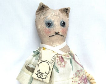 SALE Painted Art Doll - Grungy Kitty Cat Doll - Primitive Cat Doll - Painted Cat Doll - Womens Gift Doll - Cat Lovers Doll