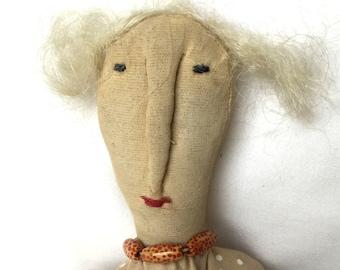 Primitive Ragdoll - Womens Gift Doll - Primitive Folk Doll - Grungy Prim Doll - Gift for Her - Soft Sculpture Doll - Prim Doll