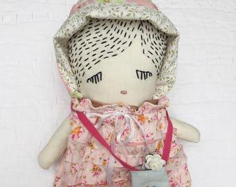 Handmade Ragdoll - Baby Shower - Nursery Decor Girls - Gift for Her - Gift for Girls - Pretty Ragdoll - Gardener Ragdoll