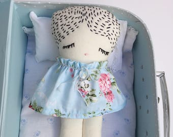 Travel Doll - Suitcase Doll - Bedtime Doll - Baby Shower Girls - Nursery Decor Girls - Doll Set