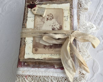 Vintage Style Junk Journal - Lace and Tea Stained Journal - Handmade Vintage Journal - Journals and Notebooks - Vintage Shabby Journal