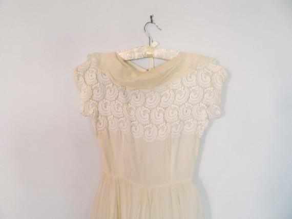 1950s ivory silk dress XS