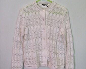 1960s pretty shell knit cardigan XS S
