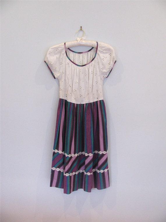 1940s cotton stripe juniors dress XS S