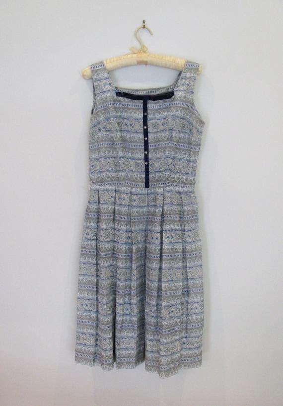 1950s blue patterned sun dress S